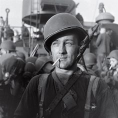 Unpublished: An American Marine readies to land on Guadalcanal during the five-month struggle for the island between late 1942 and early 1943. Three thousand miles south of Tokyo, Guadalcanal was a major shipping point for military supplies. The Allied victory there in February, 1943, marked a major turning point in the war after a string of Japanese victories in the Pacific.