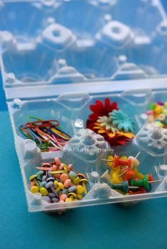 egg carton used as a crafty storage container. I have a friend who uses them to sort her bead collection too.