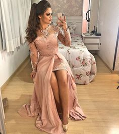 vintage prom dresses 2020 crew neckline pearls long sleeve side slit d – JZbridal Royal Blue Evening Dress, Lace Evening Dresses, Split Prom Dresses, Bridesmaid Dresses, Formal Dresses, African Traditional Wedding Dress, African Wedding Attire, African Lace Dresses, Prom Outfits