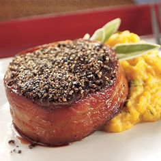 Pepper-Crusted Beef Filets with Butternut Squash - The Pampered Chef® Fixed Menu, Beef Recipes, Cooking Recipes, Mexican Crema, Beef Filet, Pampered Chef Recipes, Dinner Entrees, Food Dishes, Main Dishes