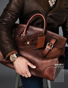 Distressed leather holdall.