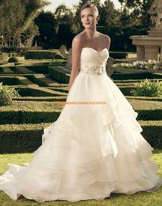 Casablanca Designe Ausgefallene Romantische Brautkleider aus Organza mit Schleppe