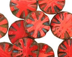 Czech Glass Red Vintage Flower Window Coin 18mm