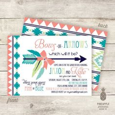 Bows or Arrows Baby Gender Reveal Invitations  by PPDesignCo