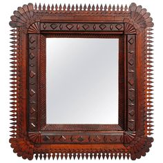 Impressive Tramp Art Mirror with Points Surround | From a unique collection of antique and modern wall mirrors at https://www.1stdibs.com/furniture/mirrors/wall-mirrors/