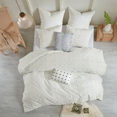 Home Essence Apartment Kay Cotton Jacquard Duvet Cover Set, Full/Queen Ivory White Image 3 of 15 Ruffle Bedding, Linen Bedding, Bed Linens, Duvet Cover Sets, Comforter Sets, Set Cover, Cotton Duvet, King Duvet, Homemade Home Decor