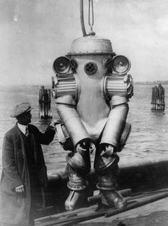 - Submarine Armor - Harry L. Bowdoin has created an all-metal diving suit, which will permit man to explore the oceans more than 200 feet beneath the waves.