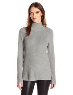 Kensie Women's Soft Viscose Blend Sweater, Heather Grey, S
