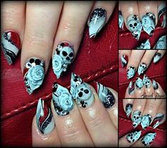 3D roses and skulls on acrylics hand made