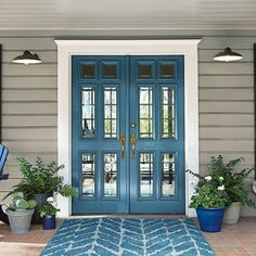 Door color is BEHR Blueprint. BEHR 2019 color of the year - . Door color is Trending Paint Colors, Popular Paint Colors, Paint Colors For Home, Outside House Paint Colors, Paint Colours, Entryway Paint Colors, Paint Colors For Furniture, Outside Wall Paint, Beachy Paint Colors