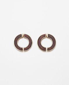 Image 1 of WOODEN EARRINGS from Zara