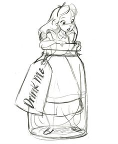 Alice in a jar #art #disney #aliceinwonderland                                                                                                                                                      More