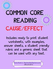 Common Core Cause Effect ready to print student worksheets with examples, answers and much more! Add this to your desktop CC folder for easy access! priced item