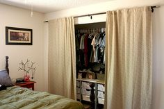 curtain closet door- so excited my apt maintenance is taking off my sliding closet doors so I can put up curtains instead and maximize space and make my room prettier :)