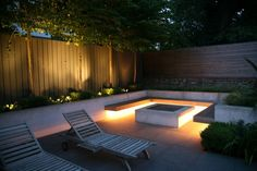 Good lighting effect underneath benches using waterproof LED strips gives a soft glow without dazzling.  Complemented by spotlights on pleached trees.