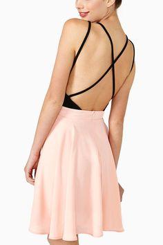 Pink Two Tone Backless Sexy Skater Dress #Pink #Dress #maykool
