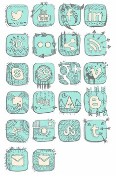 Native American Hand Drawn Illustrated Social Media Icons - 3 colors - Coral, blue, and Light Tan