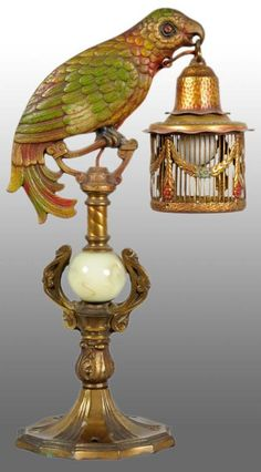 Brass Victorian Parrot Lamp.
