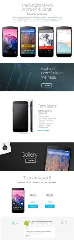 Google Nexus 5 web page - bottom half