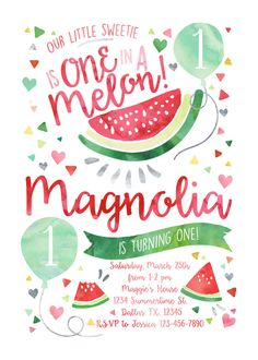 Watermelon Birthday Invitation Our Little by ohbejoyfulshop