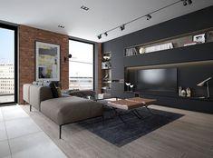 mur en brique rouge et meubles en noir mat dans le salon de design moderne