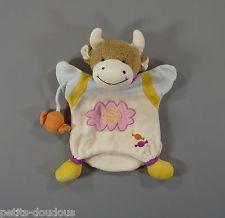 Doudou plat marionnette Vache blanc rose bonbon Doudou et Compagnie 23 cm
