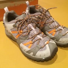 Merrell Siren Sport 2 Waterproof Hiking Shoes Really cute hiking shoes - color Brindle/Aluminum. Size 8. Worn once - show very light wear - see photos. They just don't fit me exactly right. Merrell Shoes Athletic Shoes