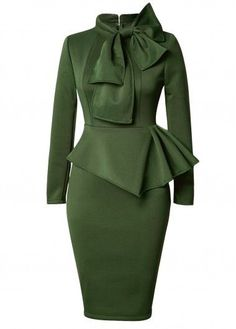 Olive Green Long Sleeve Bow Front Peplum Waist Pencil Dress
