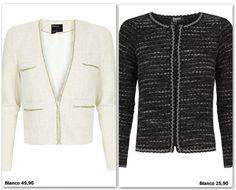 Chaqueta estilo Chanel: Blanco Tweed, Pullover, Manga, Chanel, Sweaters, Jackets, Google, Fashion, White People