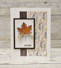 Autumn colors on a single maple leaf using a watercolor and heat emboss technique. Burlap strands add the perfect touch. Uses the Colorful Season stamp by Stampin' Up!