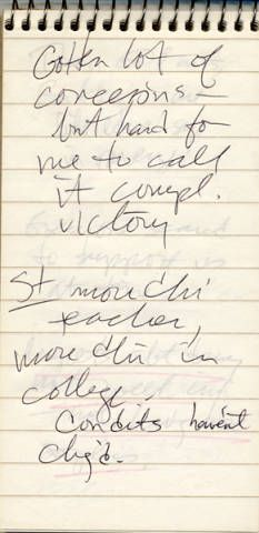 "In 1978, ten years after the East Los Angeles Student Walkouts (also known as the ""Blowouts""), Frank del Olmo interviewed key participants to see if they thought things had changed a decade later. This page of one of his many notebooks from this time reads ""Gotten lot of concessions but hard for me to call it complete victory…"" Frank del Olmo Papers."