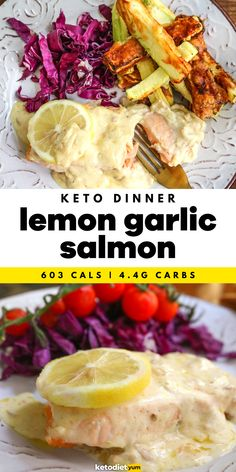 Low Carb Lemon and Garlic Salmon Recipe - Salmon, butter, cream, lemon, garlic. Can you think of a more beautiful combination? So simple to make in less than 15 minutes, and so impressive served with a low-carb side dish like a salad or zucchini fries for a more vibrant and crunchy option. Salmon Recipes, Lunch Recipes, Diet Recipes, Keto Diet Review, Lemon Garlic Salmon, Keto Diet Breakfast, Healthy Carbs, Salmon Dinner, Low Carb Side Dishes