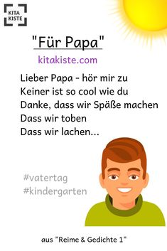 """Slogan for in - really cool - from .- Spruch zum im – richtig cool – aus """"Reime und Gedichte … Saying to in the – really cool – from """"Rhymes and Poems by Kitakiste - Handmade Father's Day Gifts, Easy Gifts, Summer Party Quotes, Fathers Day Gifts, Gifts For Dad, Papa Tag, Slogan, Kindergarten Portfolio, Kindergarten Poems"""
