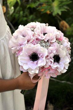 READY TO SHIP Soft blush pink Anemone flower bouquet plus Boutonnire  Silk Flower Wedding Bouquet Bridal Bouquet - medium 8 inches