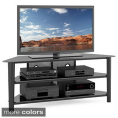 Shop for CorLiving Alturas Stained Wood Corner TV Stand for up to 68-inch TVs. Get free shipping at Overstock.com - Your Online Furniture Outlet Store! Get 5% in rewards with Club O! - 15942443