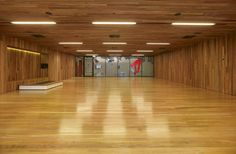 Group exercise room with recessed linear lighting