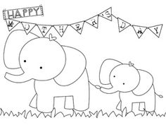 Cute elephant Mother's Day card that kids can print out and colour in