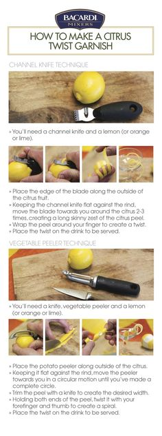 Hosting a get-together?  Show your zest for delicious  details by serving elegant,  wispy Citrus Twist  Garnishes on your cocktails.  All you need is a lemon,  orange or lime, and a  channel knife to release a  refreshing citrus aroma on  your drinks that everyone  loves. Add music, and your  guests will be ready to twist  and shout!