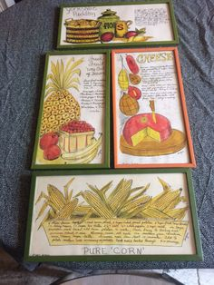 Vintage Jacque - prints of theme suggestion & recipe w food - - York shire pudding recipe - Fresh fruit way out of season pure corn recipe & 5 description on what Romano , provolone , Swiss ,blue & Edam cheeses r made from - 2 frames fruit - cheese measure 16 3/4 x 8 3/4 & 2 - other corn & Yorkshire pudding recipe measure 8 3/4 x 16 grams and backs r in tack reading to be hung brilliant & colorful