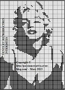 Free Marilyn Monroe cross stitch chart #stitching #people