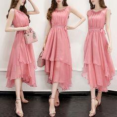 Summer chiffon dress women's clothing 2017 summer new arrival Slim was thin skirt long section sleeveless dress