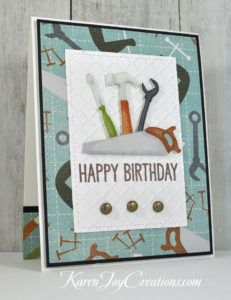 Patterned Paper Tools Handmade Masculine Birthday Card with My Favorite Things Big Birthday Sentiments and Lifestyle Crafts Chain Embossing Folder