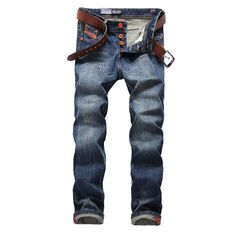 b0bc3567638 Blue Jeans Men Straight Denim Jeans Trousers Plus Size High Quality Cotton  Logo Brand orange button Mens Jeans 778 mens fashion casual View the item  in ...