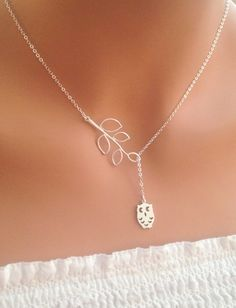 Owl and Branch lariat necklace in STERLING Silver