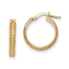 14k Yellow Gold Polished/Satin Ridged Edge Concave Hoop Earrings (0.7IN Diameter), Women's