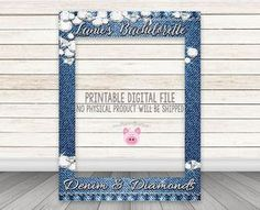 ***ANY TEXT***ANY EVENT*** PLEASE READ BEFORE YOU PURCHASE: NO PHYSICAL PRODUCT WILL BE SHIPPED! This listing is for a PRINTABLE 1-sided digital design file. Photo Frame Prop with cutout for photographs at your Denim and Diamonds Party! ALL TEXT CAN BE CUSTOMIZED!!! WHAT YOU GET 1 print-ready PDF or JPG digital file. File is sized to 30 wide x 40 high and the opening is approximately 23 wide x 29.5 high. If you need a different size, please let me know and I will try to accommodate you…
