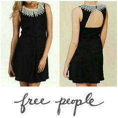🌿Free People Dress Mini length with MAXI STYLE! Waffle texture with sexy open back. Beautiful crochet necklace collar. Wrinkle resistant dress. 95% polyester, 5% spandex. Fully lined. Smoke/pet-free home. ✈ Fast Shipping ✈  💞Thanks for browsing my closet!💞 Free People Dresses