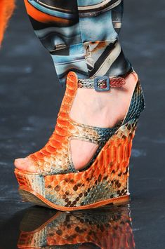 Jean Paul Gaultier Orange Snakeprint Wedge Sandal Fall 2012 #Runway #Shoes #Wedges