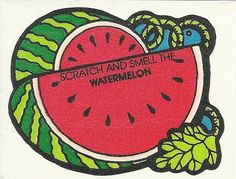 Vintage 80's Mello Smellos WATERMELON Scratch and Sniff Sticker