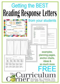 Getting started with reading response letter writing in your classroom - free resources from The Curriculum Corner | Evidence based terms | response ideas & more